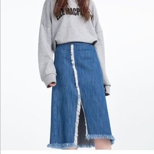 Zara Denim Midi Split Fringe Hem Skirt Medium